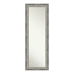 Amanti Art Waveline 18-Inch x 52-Inch Narrow Framed On the Door Mirror in Silver