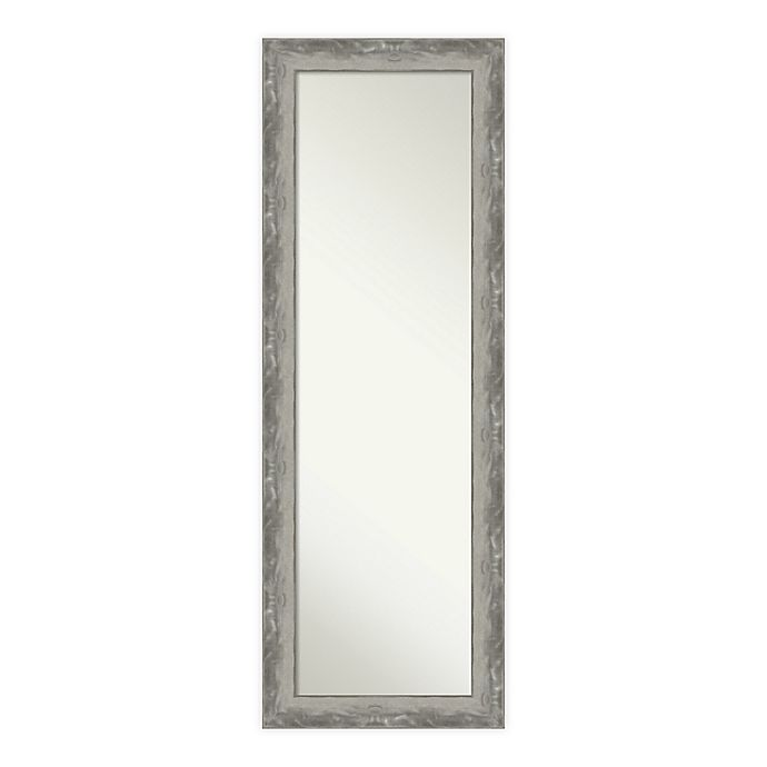 Alternate image 1 for Amanti Art Waveline 18-Inch x 52-Inch Narrow Framed On the Door Mirror in Silver