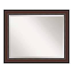 Amanti Art Harvard Walnut Framed Bathroom Vanity Mirror in Brown