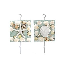 Seashell 7-Inch x 4-Inch Wall Plaque with Hooks (Set of 2)