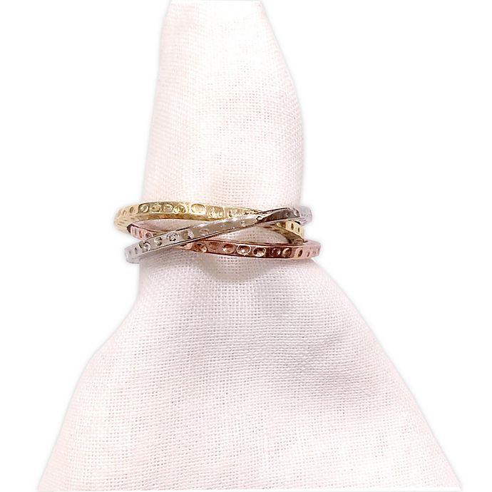 Alternate image 1 for Leila's Linens 3-Ring Hammered Brass Napkin Ring