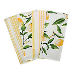 DII® Design Imports Lemon Bliss 4-Pack Kitchen Towels in Yellow/White