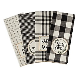 DII® Design Imports Farm to Table 4-Pack Kitchen Towels in Black/White