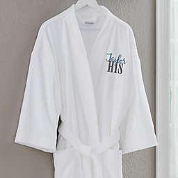 His Embroidered White Velour Robe