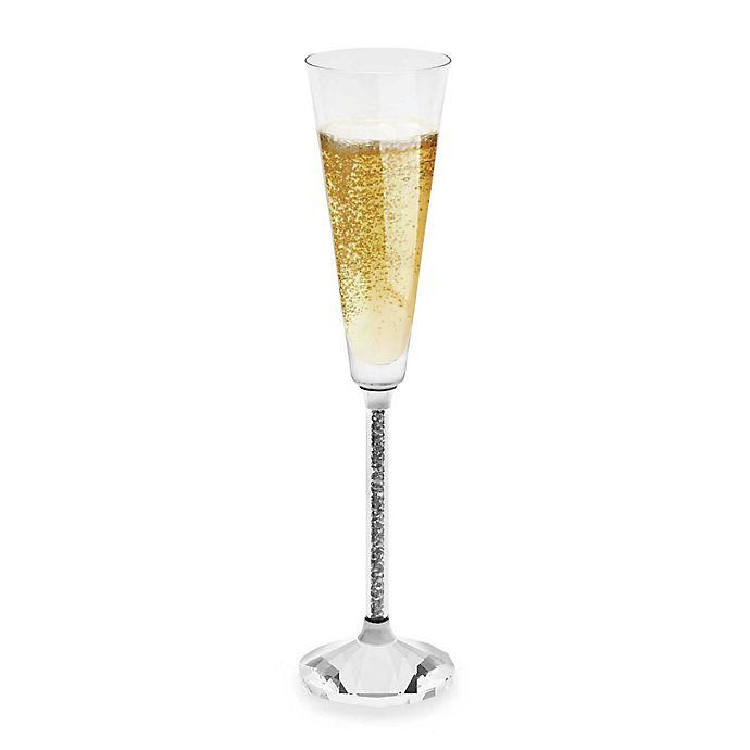 Alternate image 1 for Oleg Cassini Crystal Hematite Toasting Flutes (Set of 2)