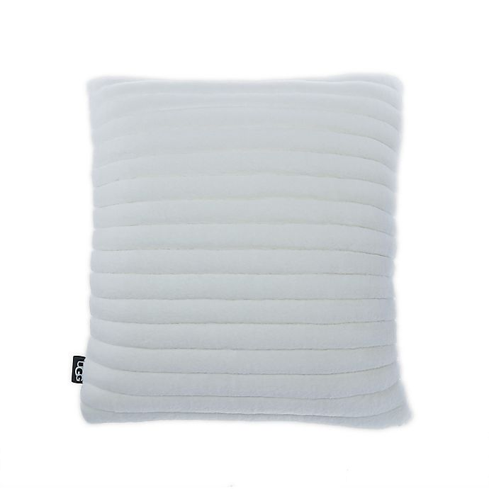 Alternate image 1 for UGG® Fluff Faux Fur Quilted Throw Pillow in Snow
