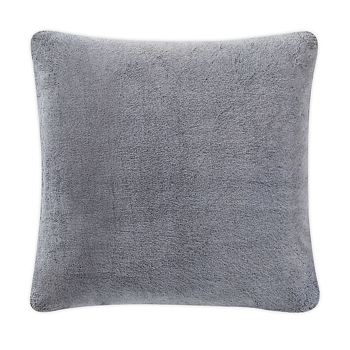 Alternate image 1 for UGG® Dawson Faux Fur Square Throw Pillow in Charcoal