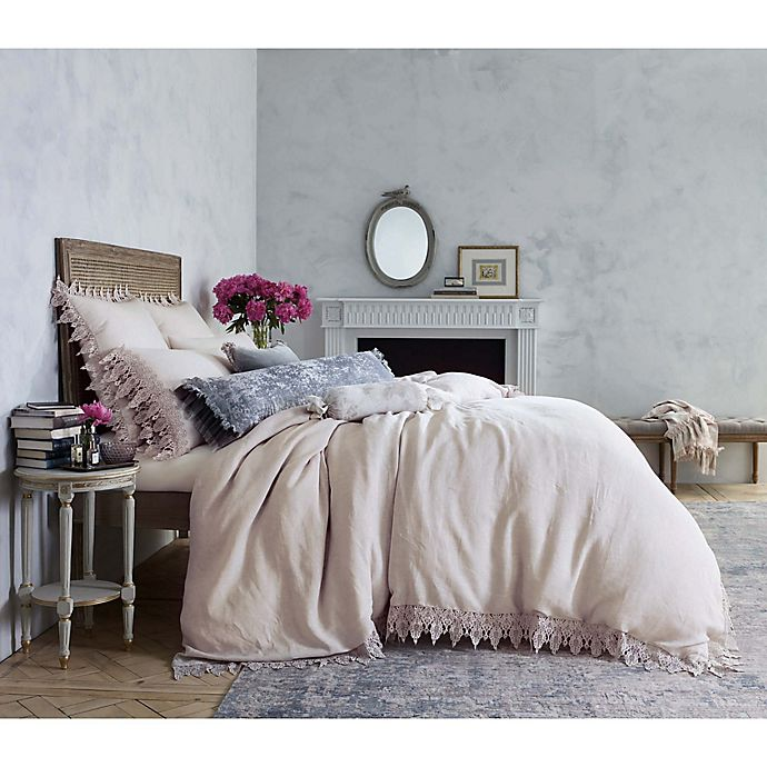 Alternate image 1 for Wamsutta™ Vintage Evelyn Lace Queen Duvet Cover in Pink