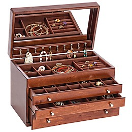 Mele & Co. Brigitte Wooden Jewelry Box in Antique Walnut