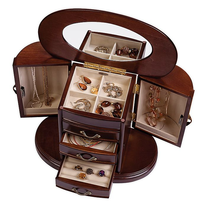 Alternate image 1 for Mele & Co. Walnut Heloise Wood Jewelry Box