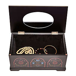 Mele & Co. Marley Jewelry Box with Pennsylvania Dutch Motif in Black