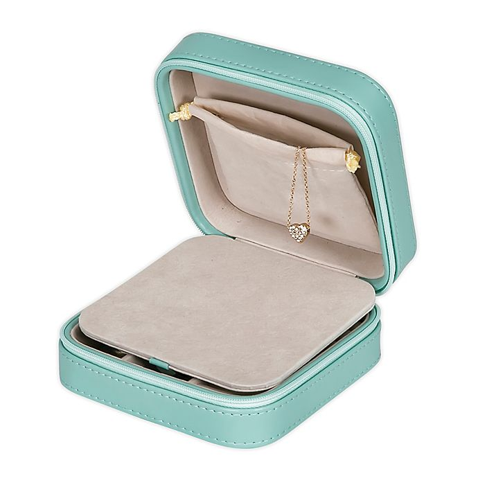 Alternate image 1 for Mele & Co. Josette Faux Leather Travel Jewelry Case in Mint Green