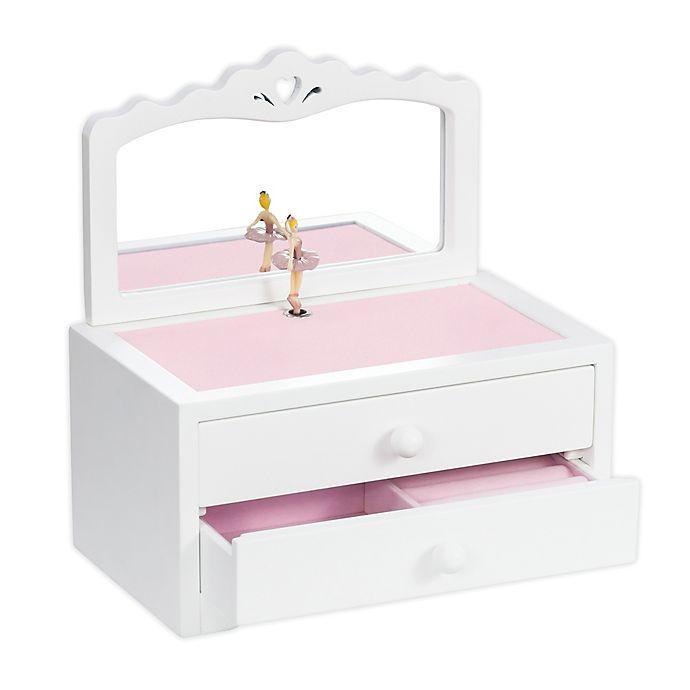 Alternate image 1 for Mele & Co. Kelby Girl's Wooden Musical Ballerina Jewelry Box in White