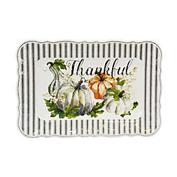 Rectangular Pumpkin Serving Tray in White