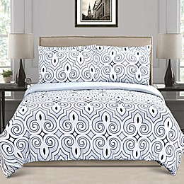 Jasper Haus Lucia 3-Piece Full/Queen Duvet Cover Set in White/Blue