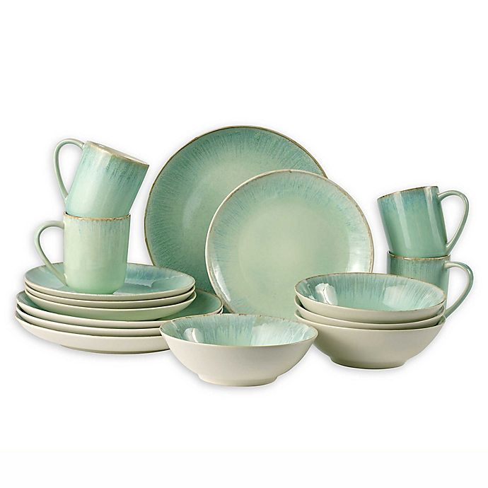 Alternate image 1 for Over and Back® Luna 16 Piece Dinnerware Set in Mint