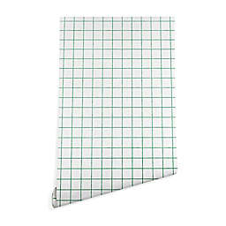Deny Designs Holli Zollinger French Grid Emerald 2-Foot x 4-Foot Peel and Stick Wallpaper