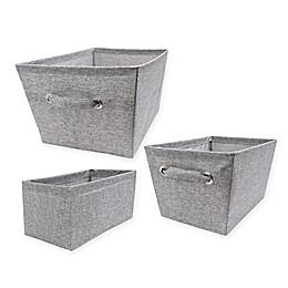 Textured Canvas Storage Bin in Grey