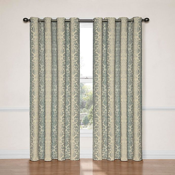 Alternate image 1 for SolarShield® Naomi 84-Inch Room Darkening Window Curtain Panel in Smoke Blue