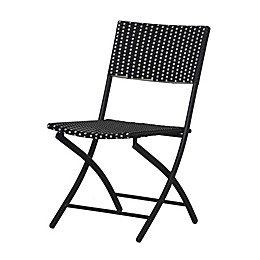 Parisian Wicker Folding Chair in Black/White
