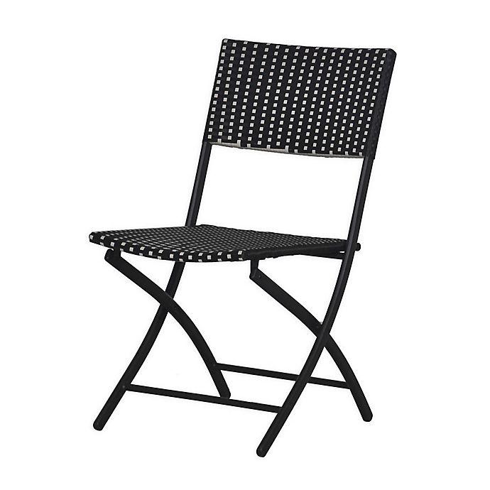 Alternate image 1 for Parisian Wicker Folding Chair in Black/White