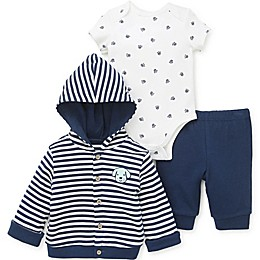 Little Me® 3-Piece Puppy Cardigan, Bodysuit, and Pant Set in Blue
