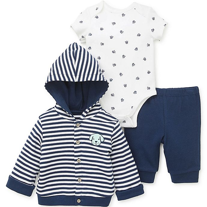 Alternate image 1 for Little Me® 3-Piece Puppy Cardigan, Bodysuit, and Pant Set in Blue