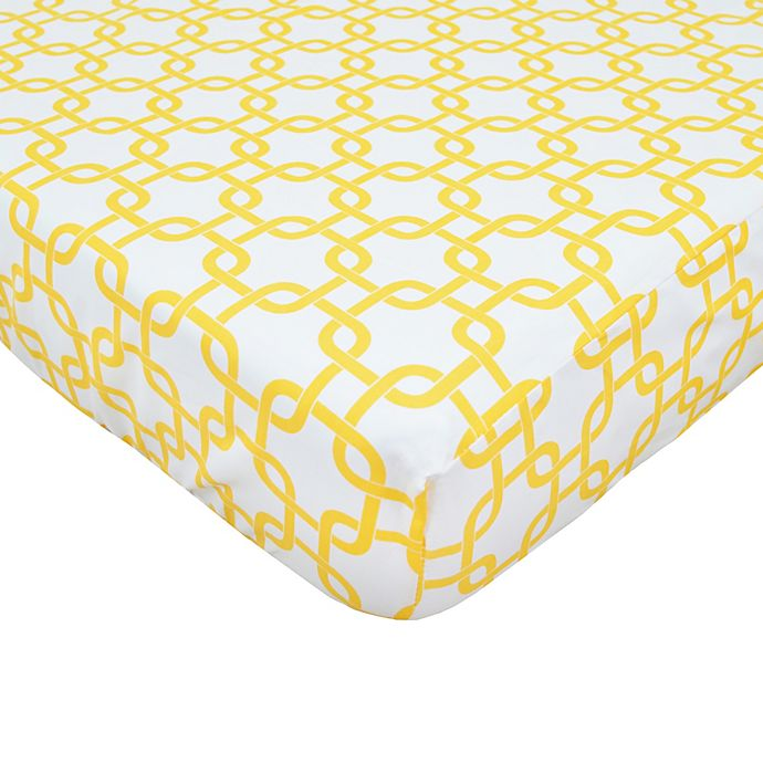 Alternate image 1 for TL Care® Cotton Percale Crib Sheet in Golden Yellow Twill Gotcha