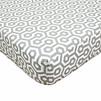 TL Care® Cotton Percale Crib Sheet in Grey Honeycomb