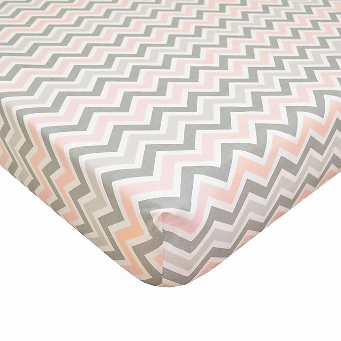Alternate image 1 for TL Care® Cotton Percale Crib Sheet in Pink/Grey Zigzag