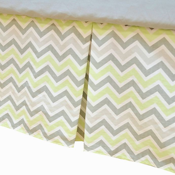 Alternate image 1 for TL Care® Cotton Percale Tailored Crib Bed Skirt with Pleat in Celery/Grey Zigzag
