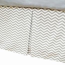 TL Care® Cotton Percale Tailored Crib Bed Skirt with Pleat in Grey Zigzag