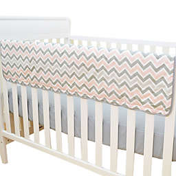 TL Care® Crib Rail Cover in Pink and Grey Zigzag