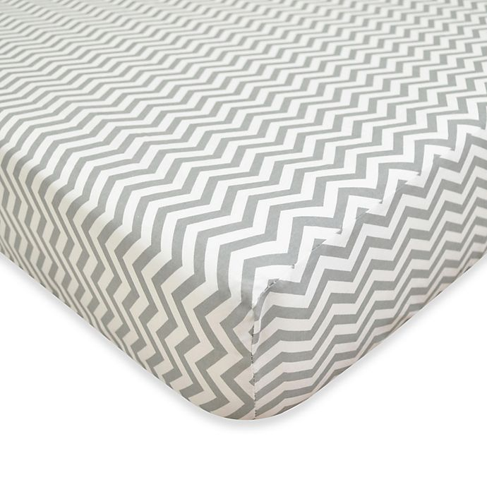 Alternate image 1 for TL Care® Cotton Flannel Crib Sheet in Grey Zig Zag