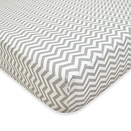 TL Care® Cotton Flannel Crib Sheet in Grey Zig Zag