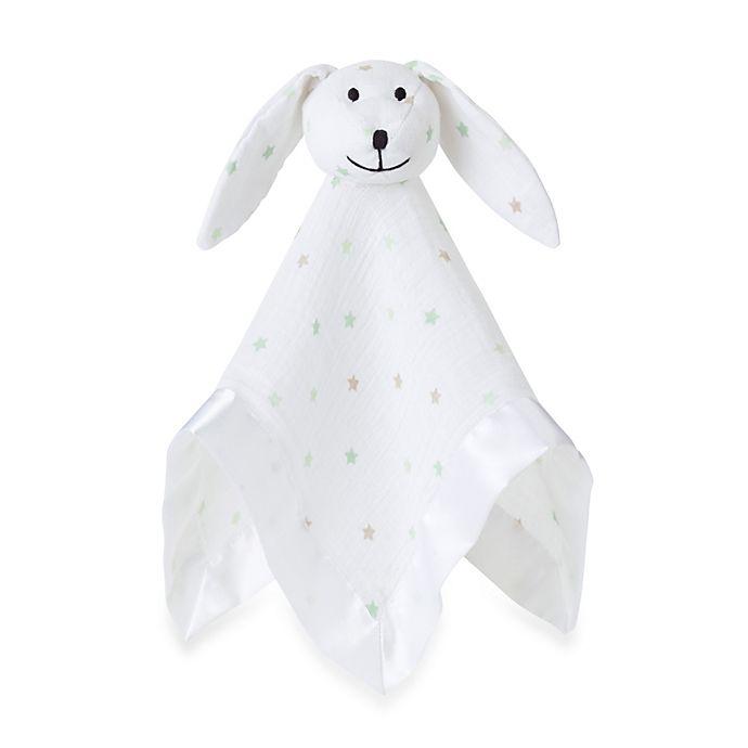Alternate image 1 for aden + anais® 100% Cotton Muslin Lovey Blanket in White/Green