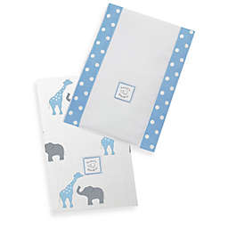 Swaddle Designs® Safari Fun Baby Burpies in Blue (Set of 2)