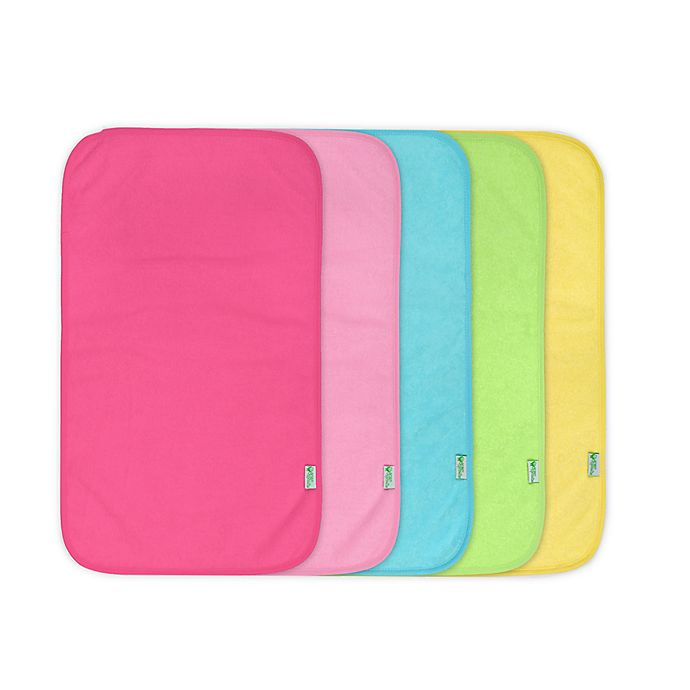 Alternate image 1 for green sprouts® 5-Pack Waterproof Absorbent Girls Terry Burp Pad