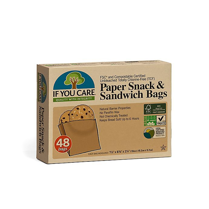 Alternate image 1 for IF YOU CARE® 48-Piece Eco-friendly Paper Snack & Sandwich Bags