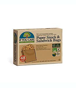 Bolsas ecológicas de papel IF YOU CARE® para sándwich y bocadillos, 48 piezas
