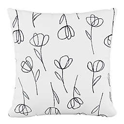 Skyline Furniture Contoured Tulips Square Throw Pillow in White