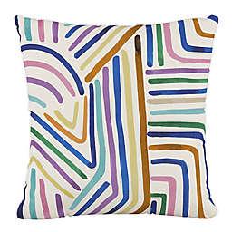 Skyline Furniture Rainbow Strokes Square Throw Pillow in Ochre