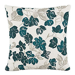 Skyline Furniture Bloom Floral Square Throw Pillow in Turquoise