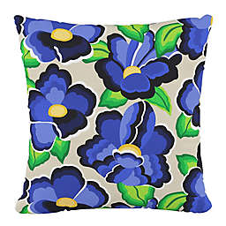 Skyline Furniture Carla Floral Square Throw Pillow in Blue