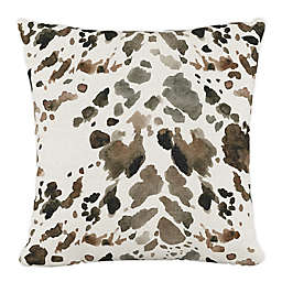 Skyline Furniture Cow Square Throw Pillow in Brown