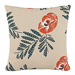 Skyline Furniture Mod Floral Square Throw Pillow in Orange