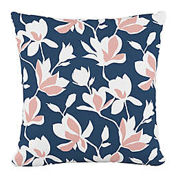 Skyline Furniture Silhouette Floral Square Throw Pillow in Navy