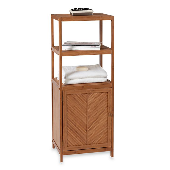 Alternate image 1 for EcoStyles Bamboo 3-Shelf Space Saver Tower with Cabinet