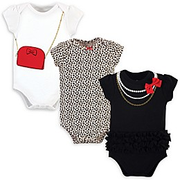 Little Treasure 3-Pack Red Bow Bodysuits