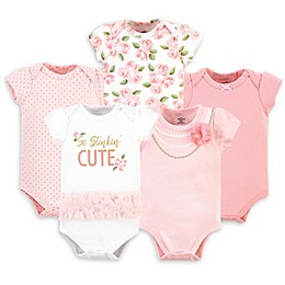Little Treasure 5-Pack So Stinkin' Cute Bodysuits in Pink/White